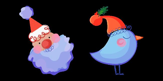 Christmas Aquarelle Santa and Bird