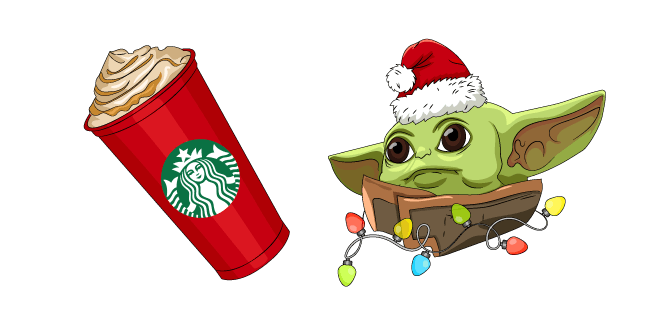 Christmas Baby Yoda and Starbucks Cup