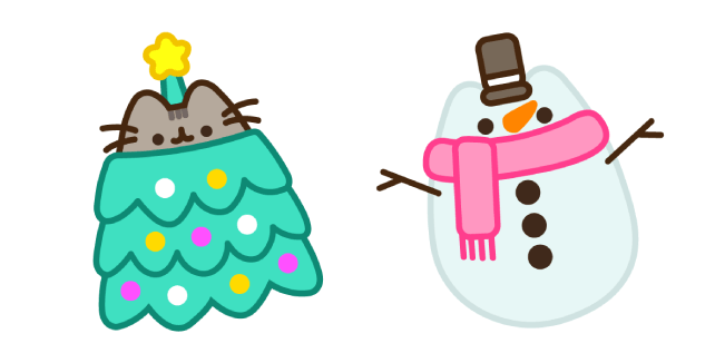 Christmas Tree Pusheen and Snowman Cursor