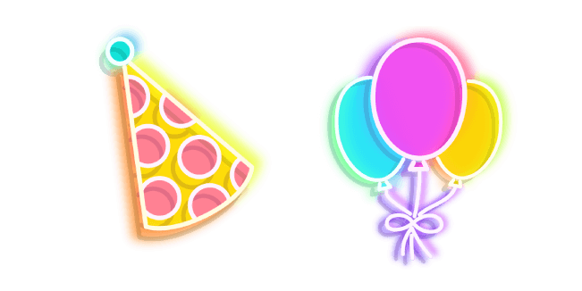 Colorful Party Hat and Balloons Neon