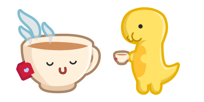 Cute Dino with Cup of Tea Cursor