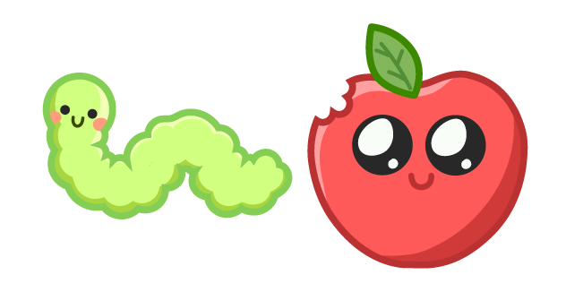 Cute Worm and Apple Cursor