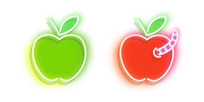 Green and Red Apple with Worm Neon