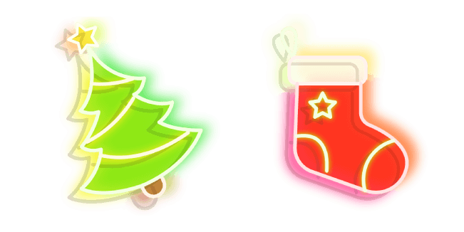 Green Christmas Tree and Red Stocking Neon