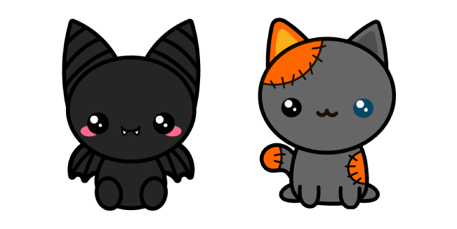 Halloween Cute Bat and Voodoo Cat
