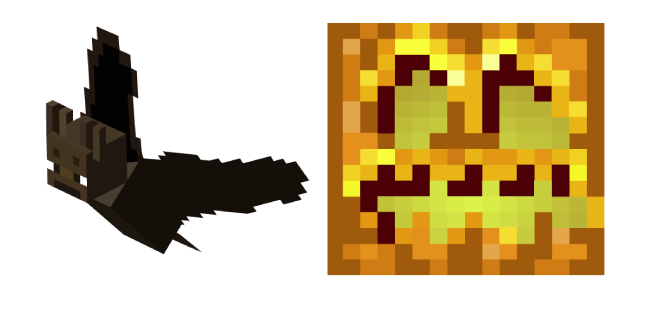 Minecraft Bat and Pumpkin Head