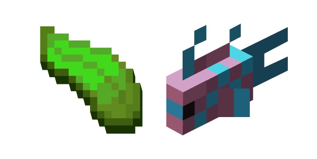 Minecraft Kelp and LightBlue-Pink Spotty Fish