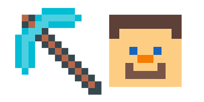 Minecraft Diamond Pickaxe & Steve