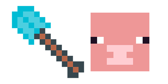 Minecraft Diamond Shovel & Pig