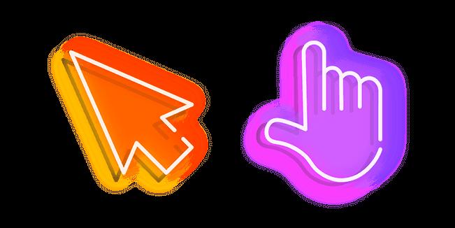 Orange Arrow and Purple Hand Neon