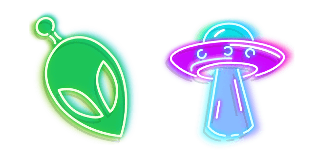 Green Alien and Purple UFO Neon