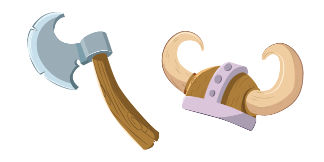 Viking Axe and Helmet