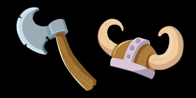Viking Axe and Helmet