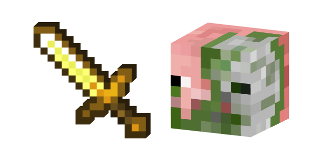 Minecraft Golden Sword and Zombie Pigman
