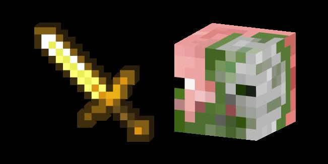 Minecraft Golden Sword and Zombie Pigman
