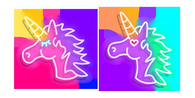Неоновый Розовый и Фиолетовый Единорог