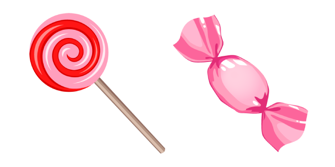 Pink Lollipop and Wrapped Candy Cursor