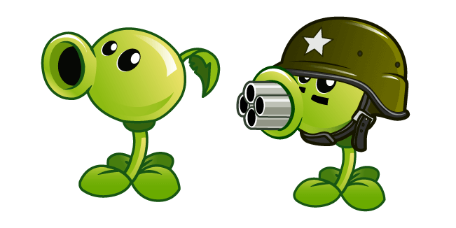 Plants vs. Zombies Peashooter and Gatling Pea