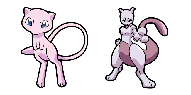 Pokemon Mew and Mewtwo