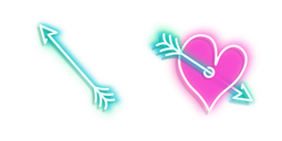 Blue Arrow and Pink Heart with Arrow Neon Cursor