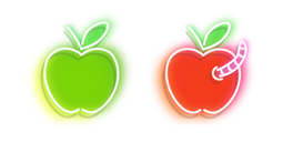 Green and Red Apple with Worm Neon Cursor