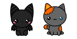 Halloween Cute Bat and Voodoo Cat Cursor