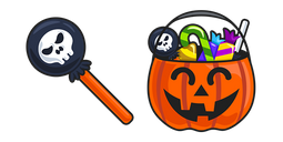 Halloween Lollipop and Pumpkin Basket Cursor