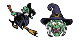 Halloween Witch on Broomstick Cursor