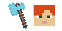 Minecraft Diamond Axe & Alex Cursor