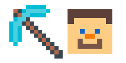 Minecraft Diamond Pickaxe & Steve Cursor