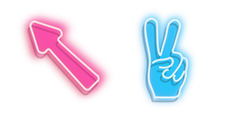 Pink Arrow and Blue Peace Hand Neon Cursor
