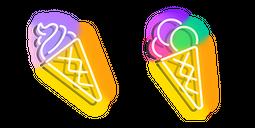 Purplish Yellow and Colourful Ice Cream Neon Cursor
