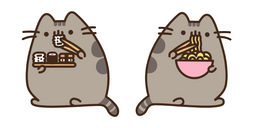 Pusheen Eating Sushi and Ramen Noodles Cursor
