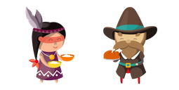 Thanksgiving Day Indian and Pilgrim Cursor