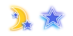 Yellow Moon and Blue Star Neon Cursor