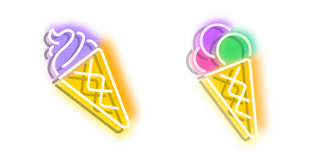 Purplish Yellow and Colourful Ice Cream Neon