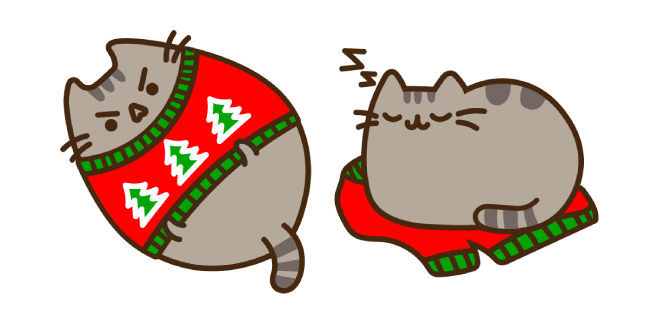 Pusheen and Ugly Holiday Sweater Cursor