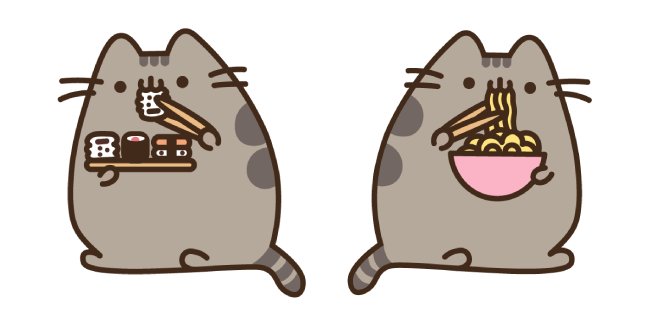 Pusheen Eating Sushi and Ramen Noodles