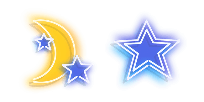 Yellow Moon and Blue Star Neon