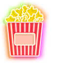 Colorful 3d Glasses and  Popcorn Bucket Neon Pointer