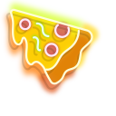 Yellow Pizza and Colourful Drink Neon Cursor