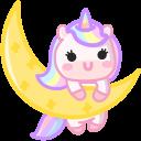 Cute Unicorn on the Moon and Cloud Cursor