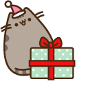Pusheen with Christmas Present Cursor