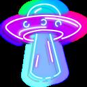 Green Alien and Purple UFO Neon Pointer