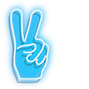 Blue Neon Peace Hand Pointer