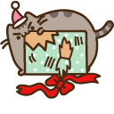 Pusheen with Christmas Present Pointer