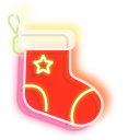 Green Christmas Tree and Red Stocking Neon Pointer