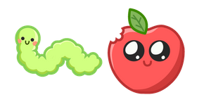 Cute Worm and Apple