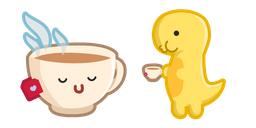 Cute Dino with Cup of Tea Cursor