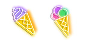 Purplish Yellow and Colourful Ice Cream Neon Cursor